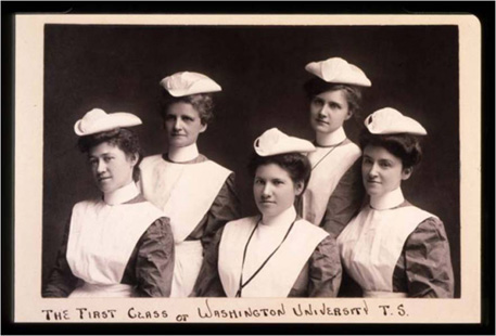 The first class of five nurses graduated in 1908.